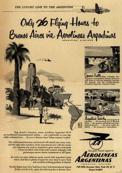 Aerolineas Argentina's Argentina – Only 26 Flying Hours to Buenos Aires via Aerolineas Argentinas (1952)