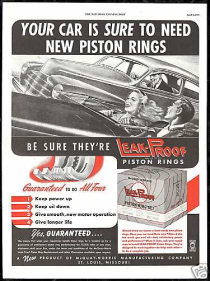 Convertible Car McQuay Norris Piston Rings (1947)