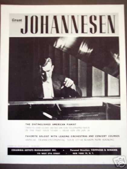 American Pianist Grant Johannesen Tour Booking (1957)