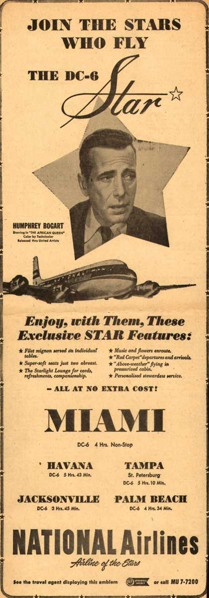 National Airline's Florida and Cuba – JOIN THE STARS WHO FLY THE DC-6 STAR (1952)
