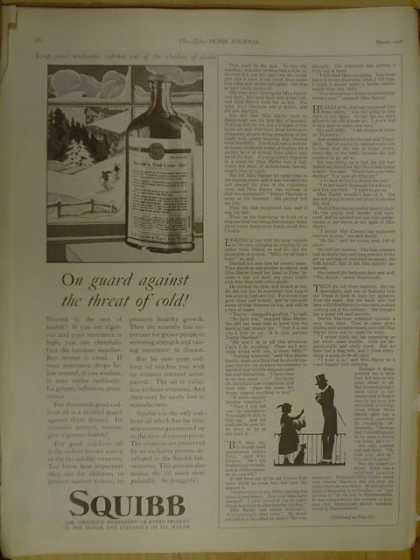 Squibb Cod Liver Oil. On guard against threat of cold (1926)
