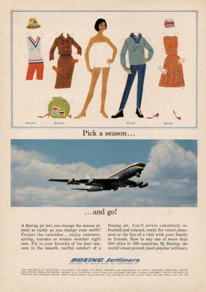 Boeing Jetliner Cut Out Paper Doll (1964)