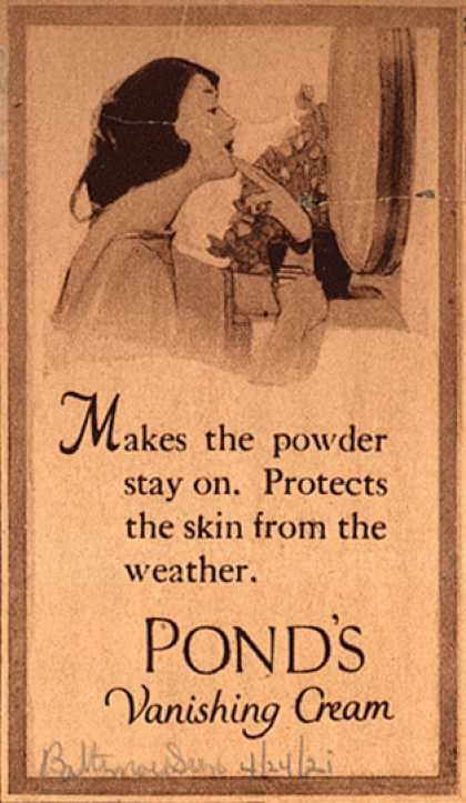 Pond's Extract Co.'s Pond's Vanishing Cream – Makes the powder stay on (1921)