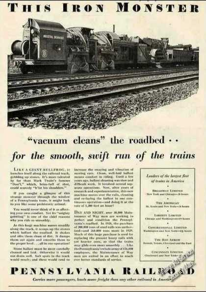 "Pennsylvania Rr ""Iron Monster Vacuums Roadbed"" (1929)"