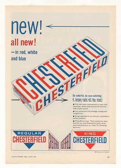 '57 New Red White Blue Chesterfield Cigarette Carton (1957)