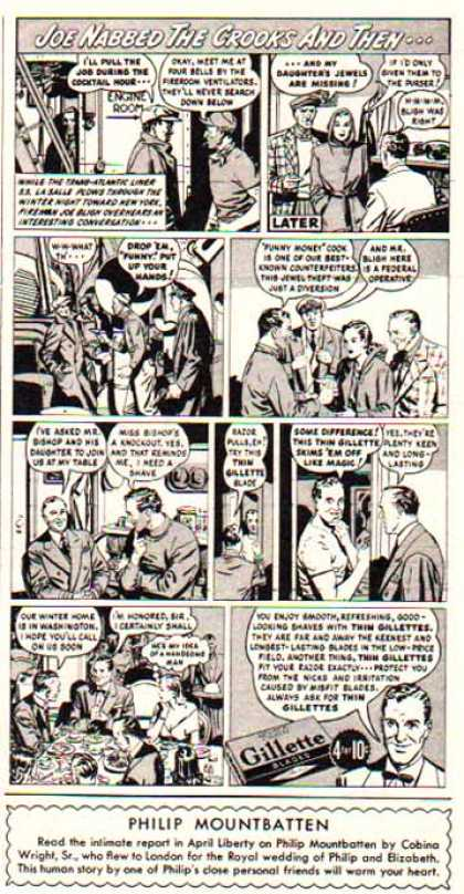 Gillette Razor Blade – Comic Strip – Joe Nabbed the Crook (1948)