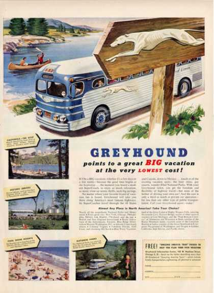 Vitnage Greyhound Bus California Art Ad T (1950)