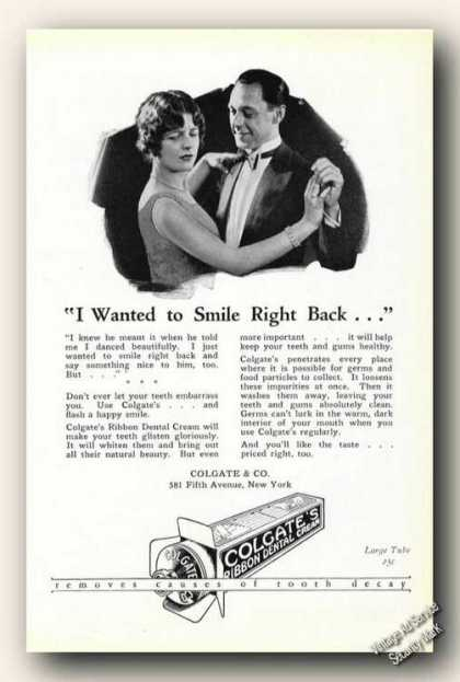 I Wanted To Smile Right Back Colgate's Dental (1926)
