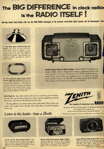 Zenith Radio Corporation's Various – The Big Difference in clock radios is the Radio Itself (1953)