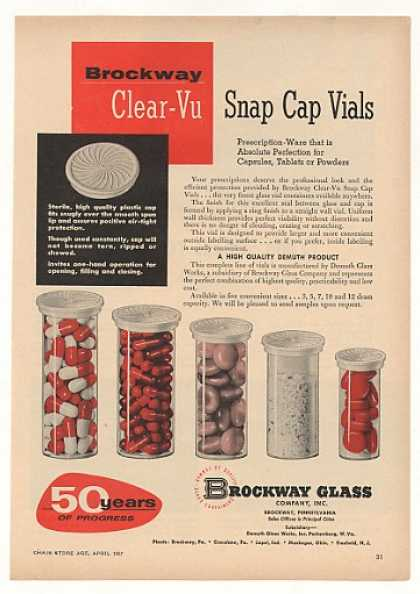Brockway Glass Clear-Vu Snap Cap Vials Trade (1957)