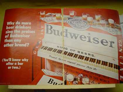 Budweiser Beer Piano theme Great looking ad 2 pg (1970)