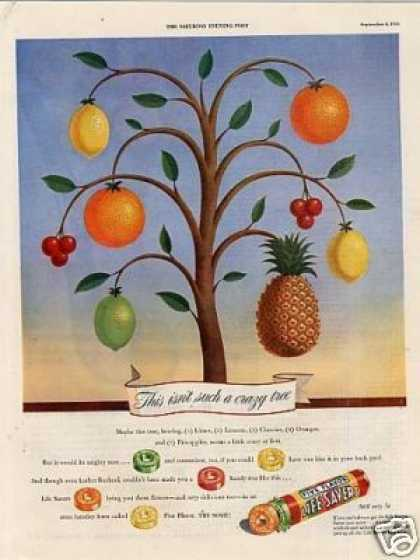 Life Savers Candy Ad Fruit Tree (1943)
