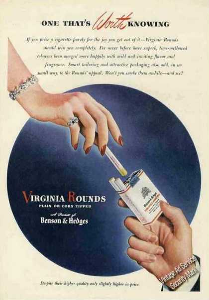 Virginia Rounds By Benson & Hedges Cigarettes (1947)