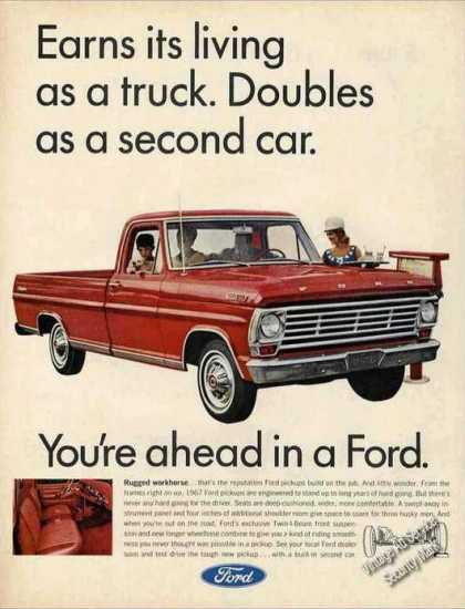Ford Pickup Trucks Double As Second Car (1967)