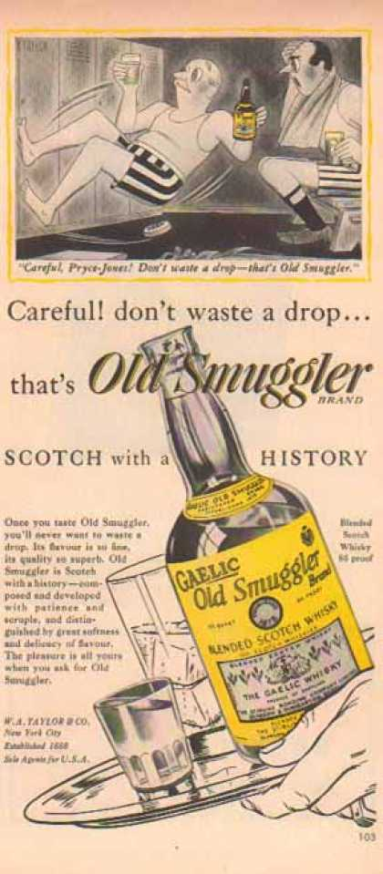 Old Smuggler Scotch – Golf Locker room, Careful Pryce-Jones (1949)