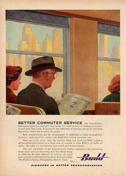 "Budd Ad ""Better Commuter Service"" Leslie Ragan Art (1952)"