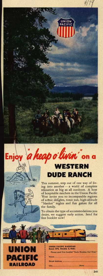 "Union Pacific Railroad's Western Dude Ranches – Enjoy ""a heap o' livin'"" on a Western Dude Ranch (1949)"