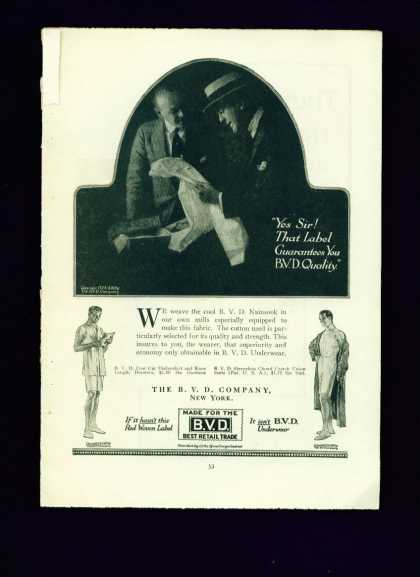Bvd Underwear Ad That Label Guarantees You Quality (1917)
