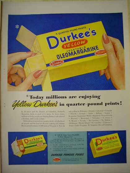 Durkee's Yellow Oleomargarine Millions are enjoying (1949)