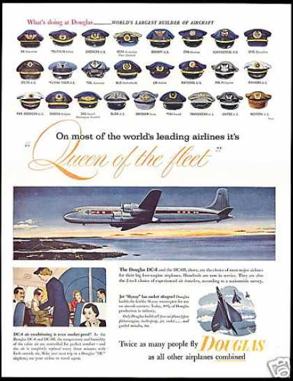 Douglas DC6 DC-6B Airplane Airlines Pilot Hats (1953)