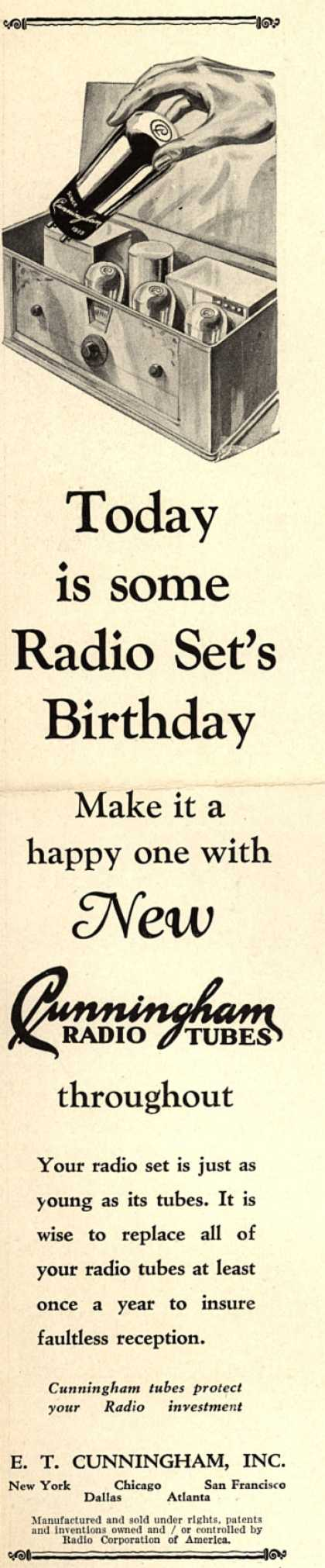 E.T. Cunningham's Radio Tubes – Today is some Radio Set's Birthday (1929)