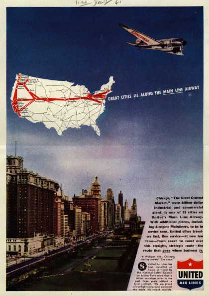 United Air Line's Main Line Airway – Great Cities Lie Along the Main Line Airway (1945)