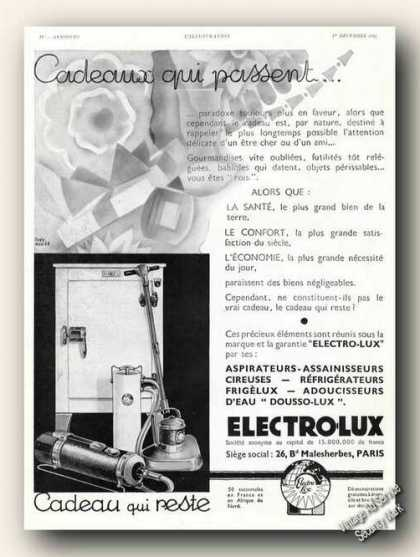 Electrolux Appliances Antique French Language (1934)