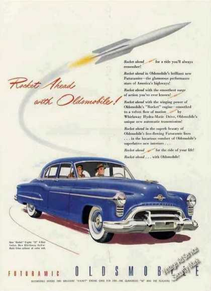 "Blue Oldsmobile 88 ""Rocket Ahead"" (1950)"