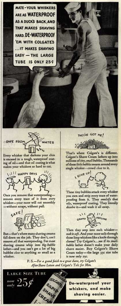 Colgate & Company's Colgate's Rapid-Shave Cream – Mate – your Whiskers Are As Waterproof As A Duck's Back (1934)