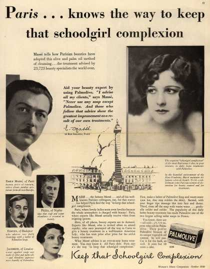 Palmolive Company's Palmolive Soap – Paris...knows the way to keep that schoolgirl complexion (1930)