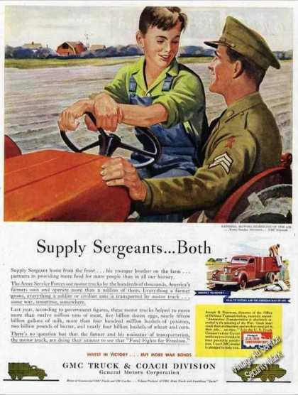 "Wwii Gmc Truck Ad ""Supply Sergeants...bot (1944)"