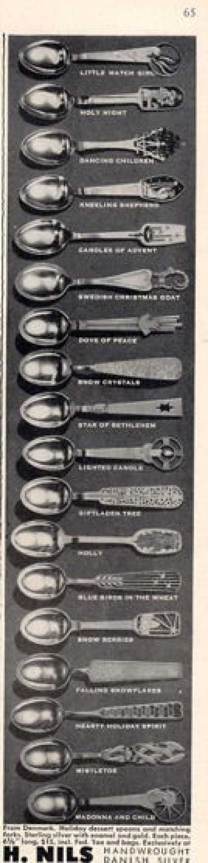 H. Nils Danish Silver Spoons 18 Patterns (1949)