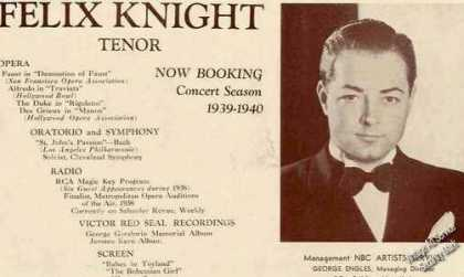 Felix Knight Photo Tenor Antique Booking (1939)