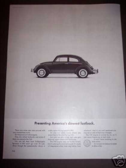 Vw Volkswagen Bug Slowest Fastback Car (1964)
