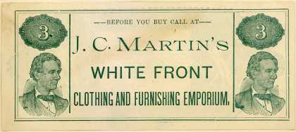 J. C. Martin's White Front Clothing's men's, youth's and boys' clothing – J.C. Martin's White Front Clothing and Furnishing Emporium