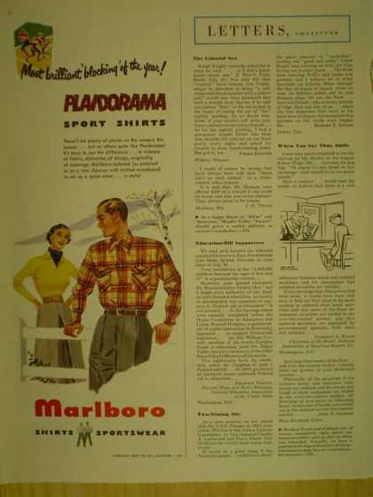 Marlboro Shirts Sportswear. Plaidorama sports wear (1949)