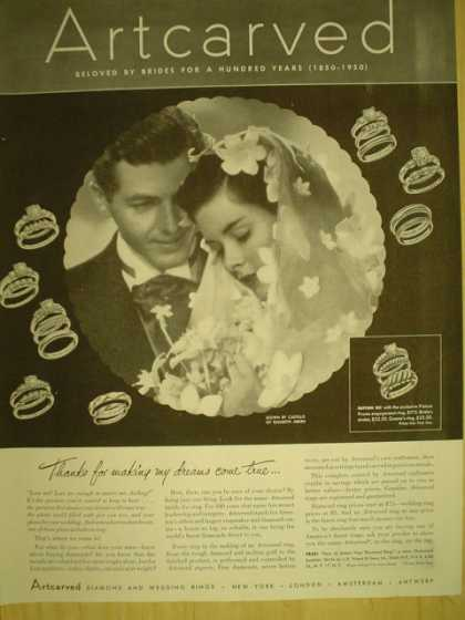 Artcarved wedding rings. Thanks for making my dreams come true (1949)
