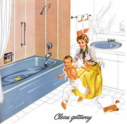 Dynametric bath and Radiant lavatory in Cerulean Blue Kohler of Kohler (1960)