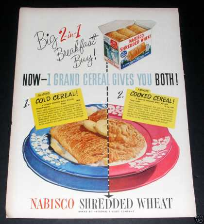 Nabisco Shredded Wheat, 2 In 1, Ex (1949)