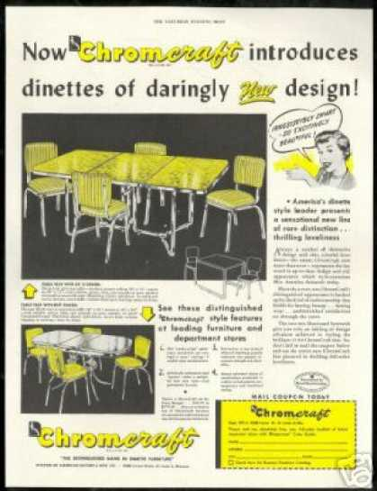 Chromcraft Dinette Yellow Furniture Table Chair (1950)