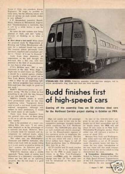 """Budd Finishes First High-speed Cars"" Article/prr (1967)"