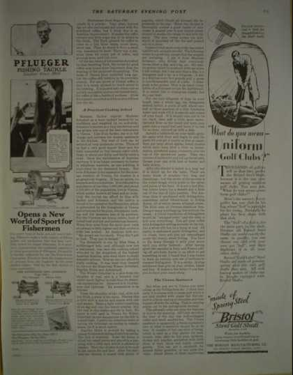Pflueger fishing tackle AND Bristol Golf Shaft (1928)