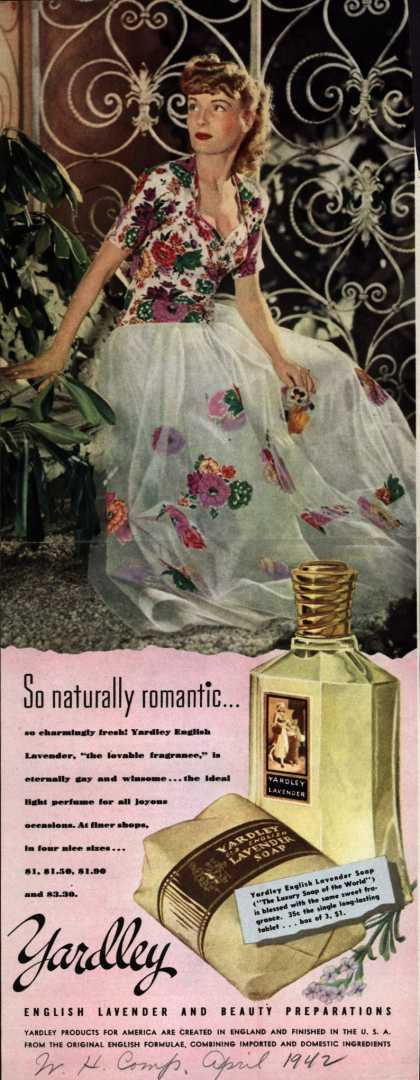 Yardley of London's English Lavender Cosmetics – So naturally romantic... (1942)