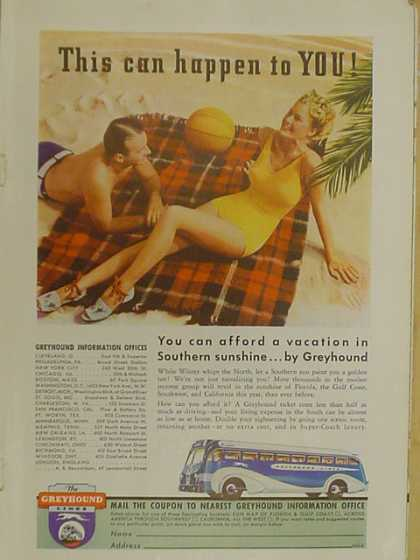Greyhound Buslines. Southern sunshine by Greyhound (1939)