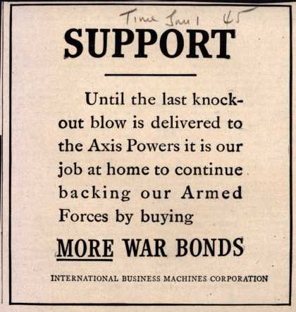International Business Machines Corp.'s War Bonds – Support (1945)