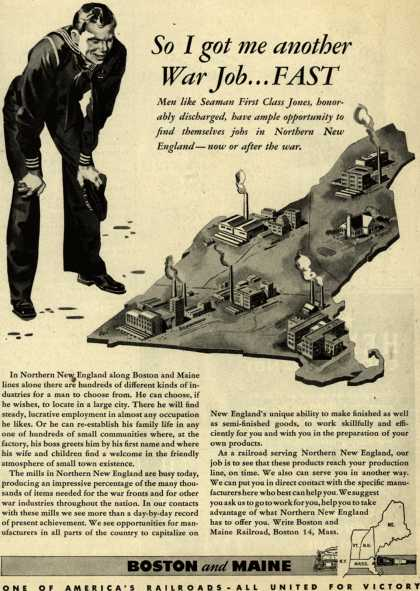 Boston and Maine Railroad's job opportunities – So I got me another War Job....FAST (1945)