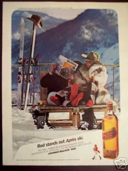 Skiing Couple In Red Socks Johnnie Walker (1986)