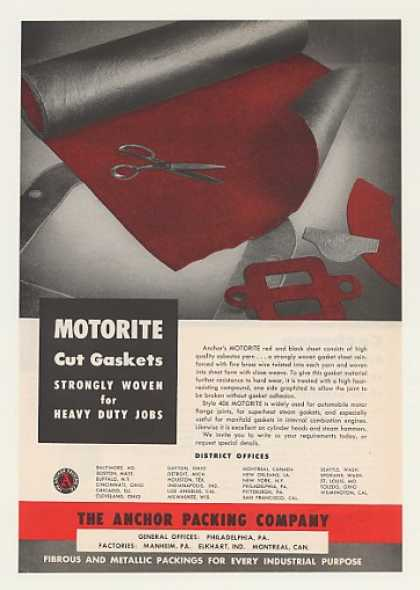 Anchor Packing Motorite Asbestos Yarn Gaskets (1956)