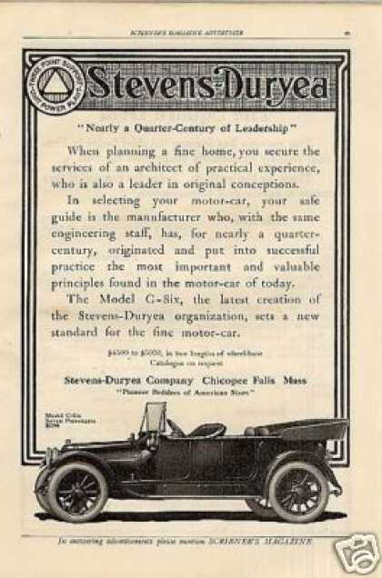 Stevens-duryea Car Ad Model C-six (1912)
