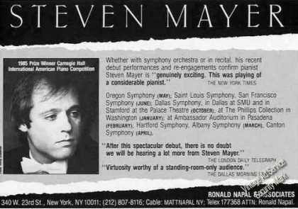 Steven Mayer Photo Pianist Booking (1986)